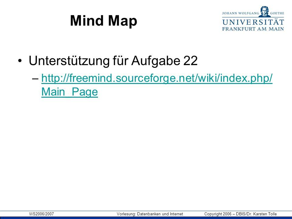 Mind Map Unterstützung für Aufgabe 22