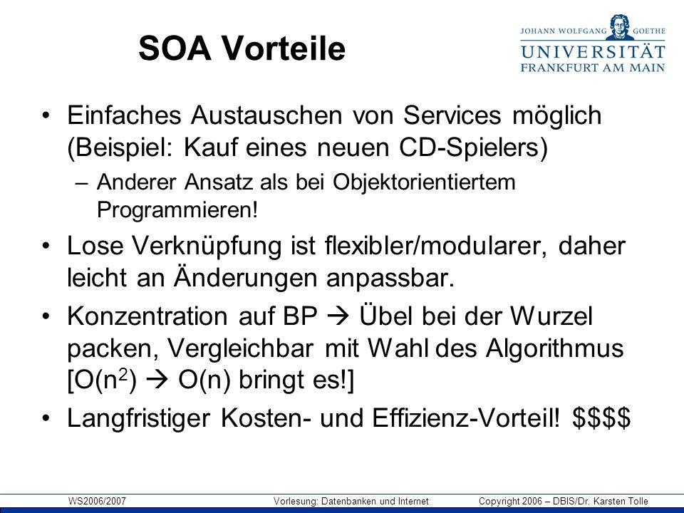SOA Vorteile Einfaches Austauschen von Services möglich (Beispiel: Kauf eines neuen CD-Spielers)