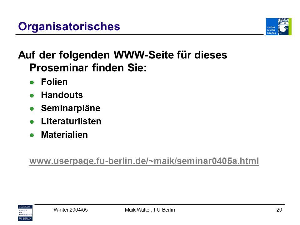 Organisatorisches Auf der folgenden WWW-Seite für dieses Proseminar finden Sie: Folien. Handouts.