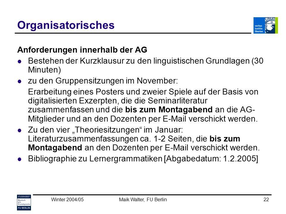 Organisatorisches Anforderungen innerhalb der AG