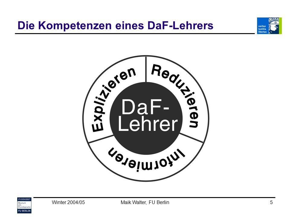 Die Kompetenzen eines DaF-Lehrers