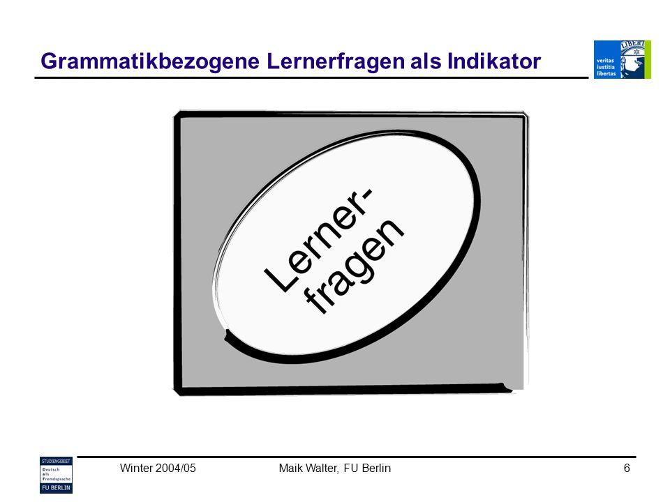 Grammatikbezogene Lernerfragen als Indikator