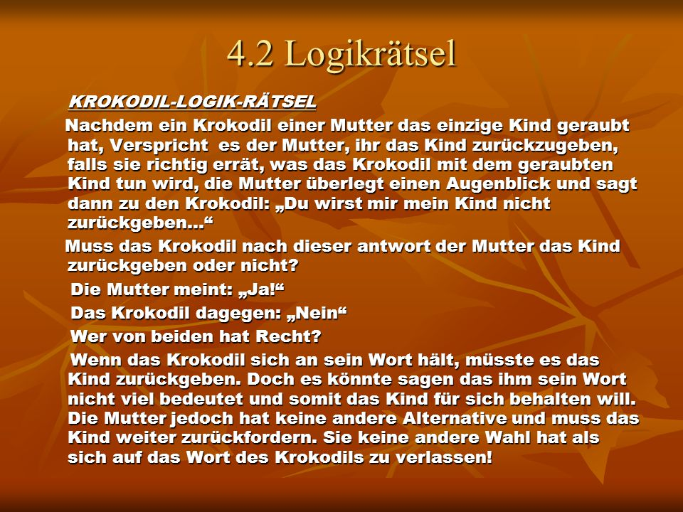 4.2 Logikrätsel KROKODIL-LOGIK-RÄTSEL