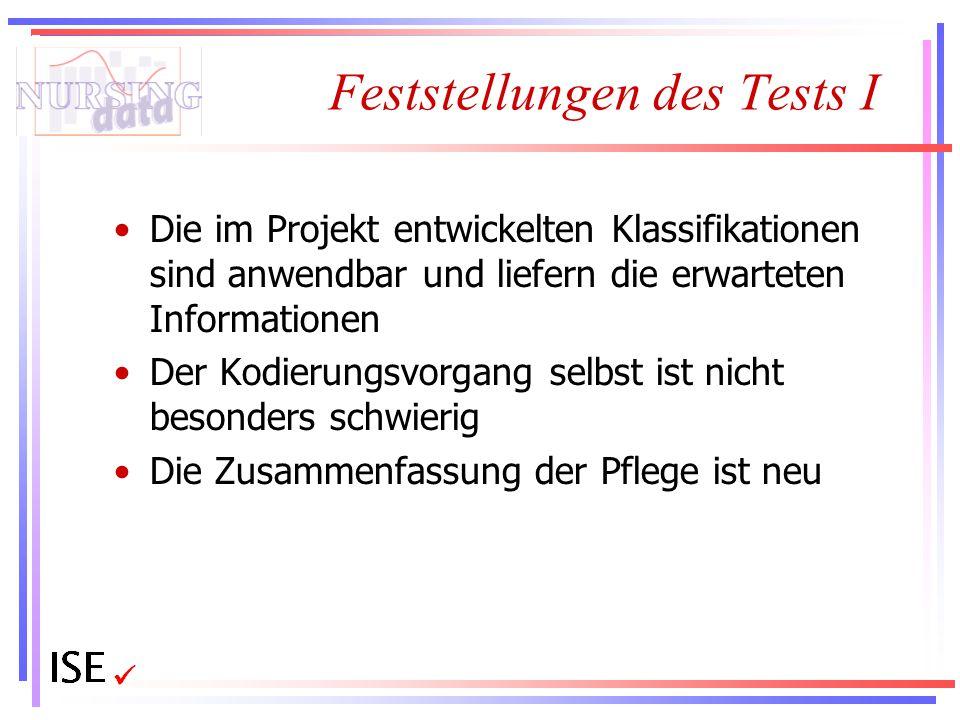 Feststellungen des Tests I
