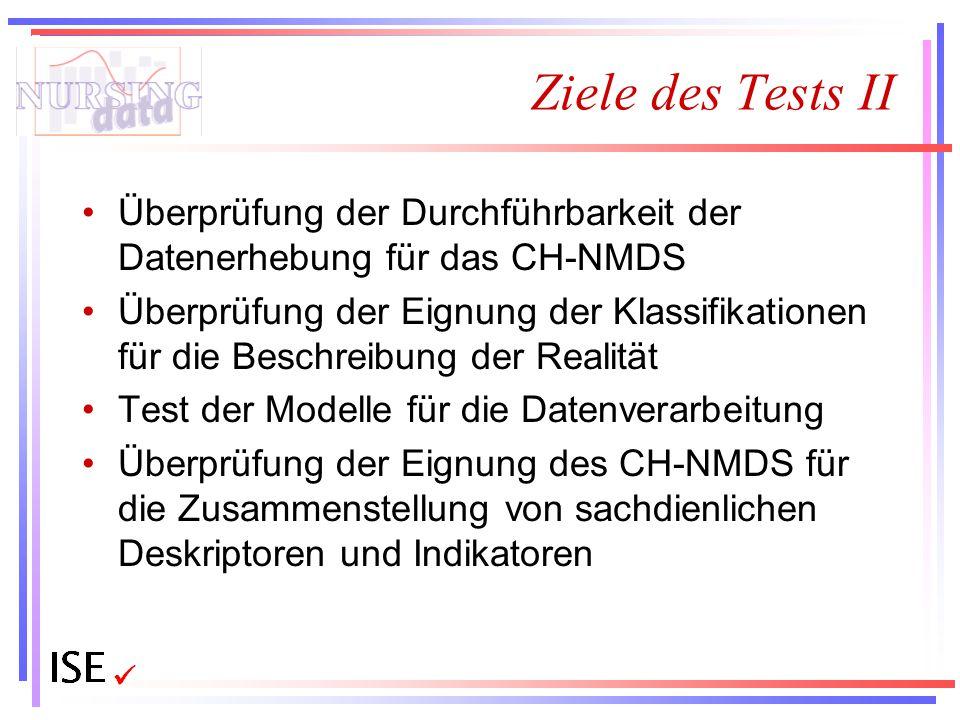Ziele des Tests II Überprüfung der Durchführbarkeit der Datenerhebung für das CH-NMDS.