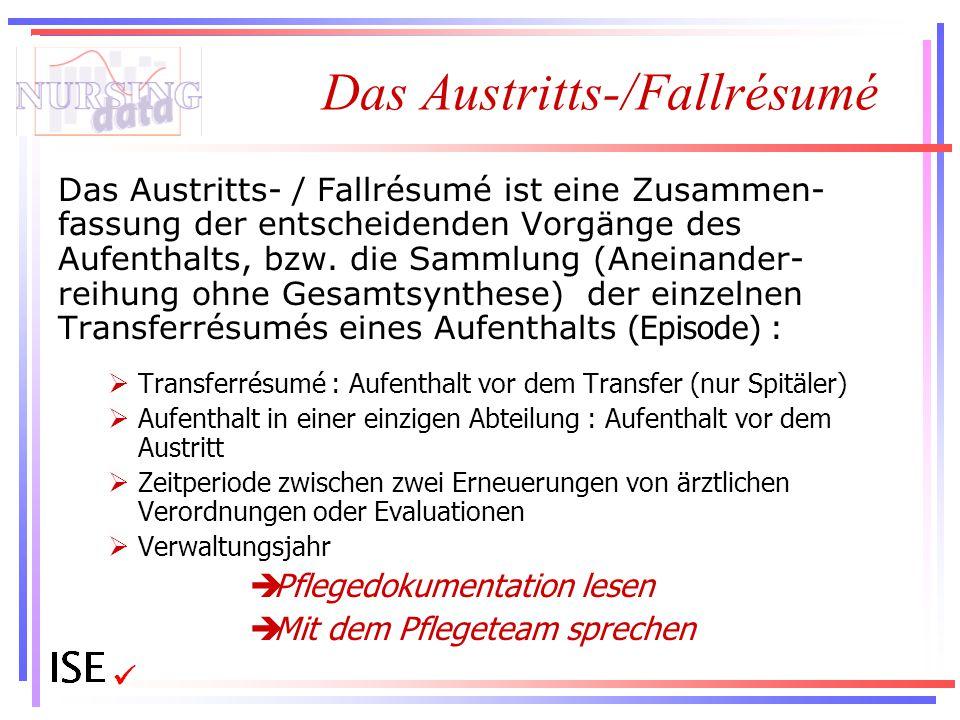 Das Austritts-/Fallrésumé