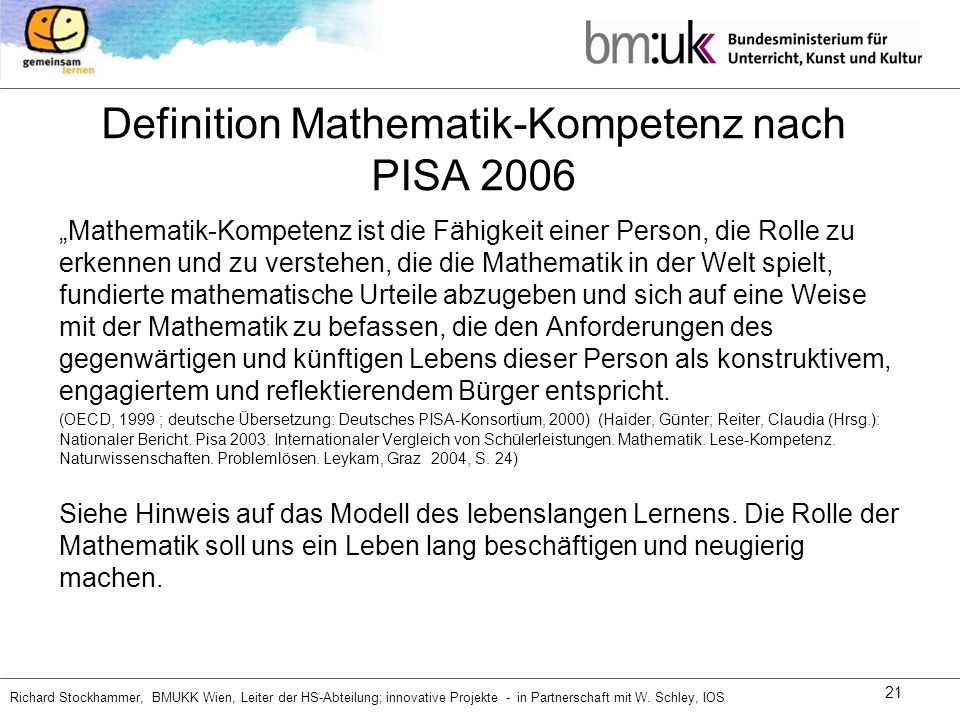 Definition Mathematik-Kompetenz nach PISA 2006