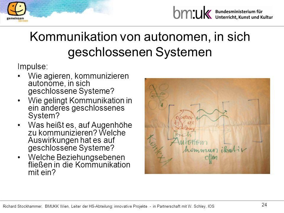 Kommunikation von autonomen, in sich geschlossenen Systemen