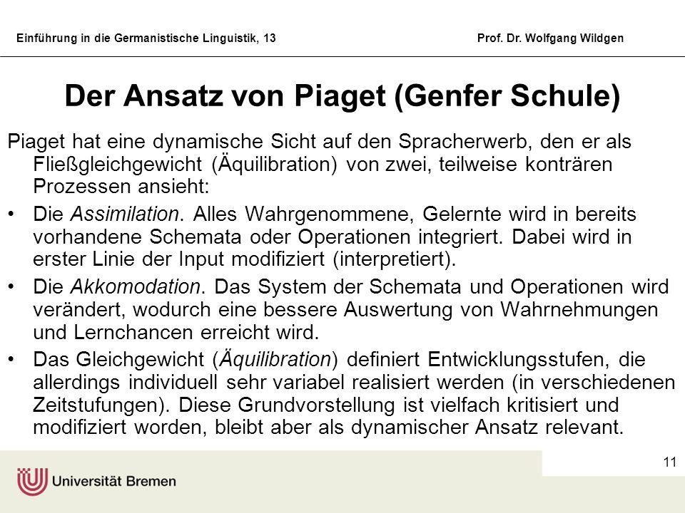 Der Ansatz von Piaget (Genfer Schule)