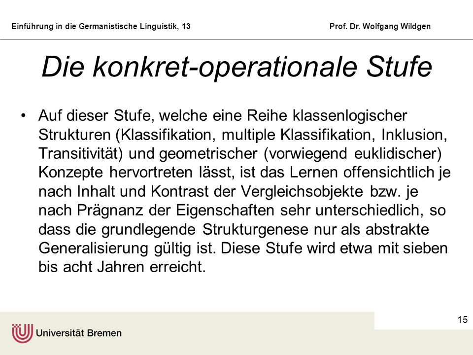 Die konkret-operationale Stufe