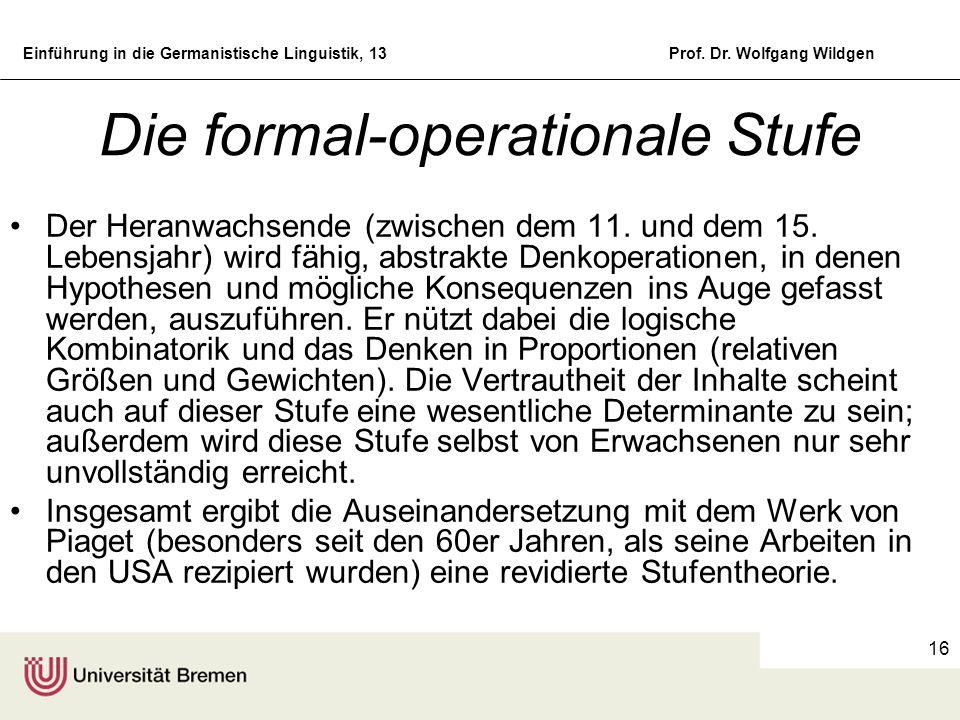 Die formal-operationale Stufe