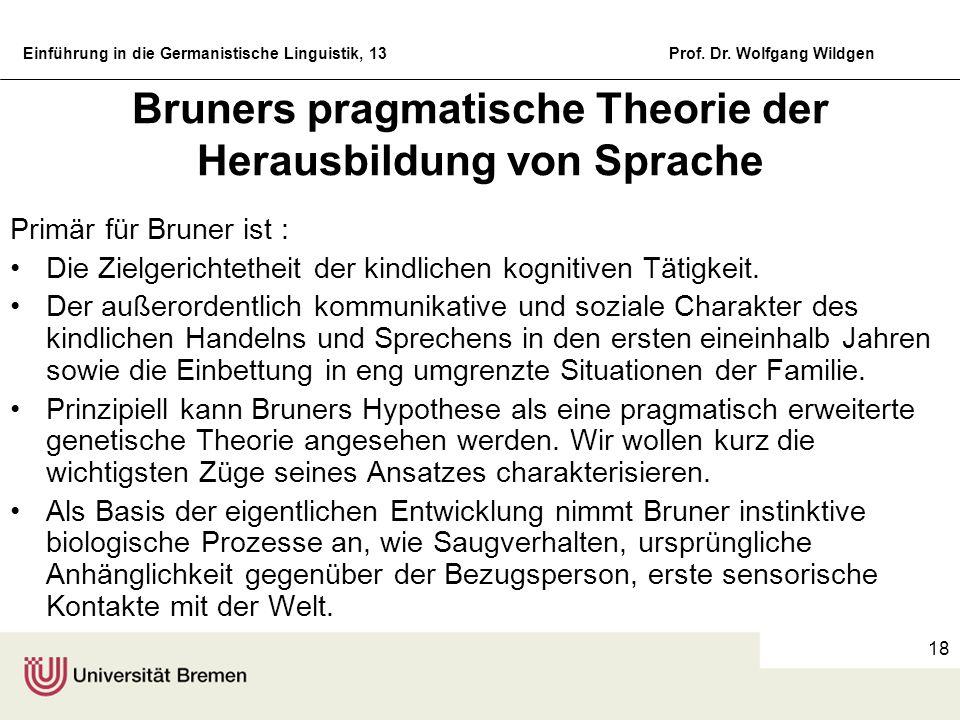 Bruners pragmatische Theorie der Herausbildung von Sprache