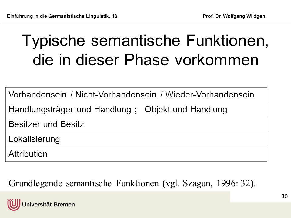 Typische semantische Funktionen, die in dieser Phase vorkommen