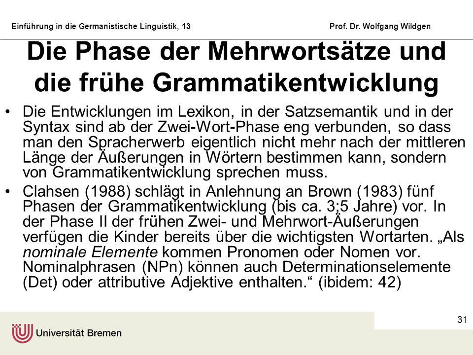 Die Phase der Mehrwortsätze und die frühe Grammatikentwicklung