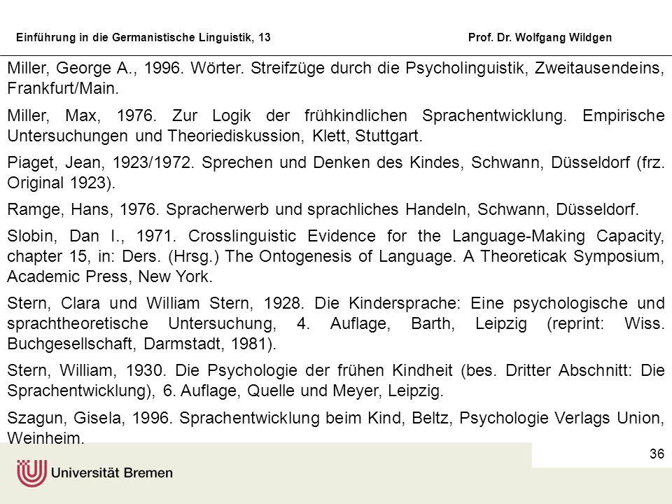 Miller, George A., 1996. Wörter. Streifzüge durch die Psycholinguistik, Zweitausendeins, Frankfurt/Main.