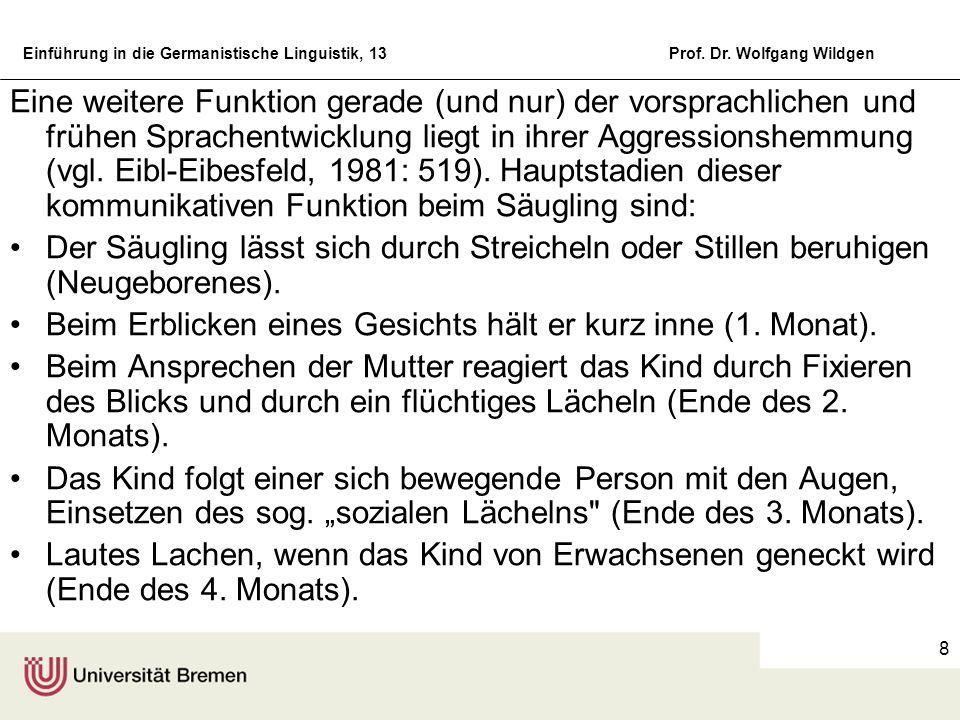 Eine weitere Funktion gerade (und nur) der vorsprachlichen und frühen Sprachentwicklung liegt in ihrer Aggressionshemmung (vgl. Eibl-Eibesfeld, 1981: 519). Hauptstadien dieser kommunikativen Funktion beim Säugling sind: