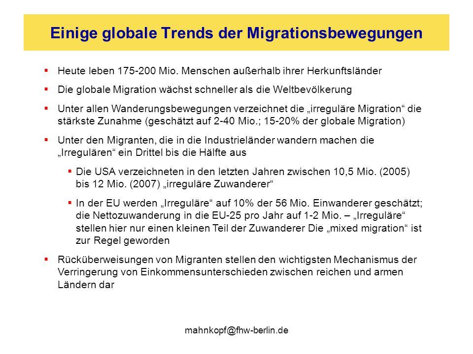 Einige globale Trends der Migrationsbewegungen