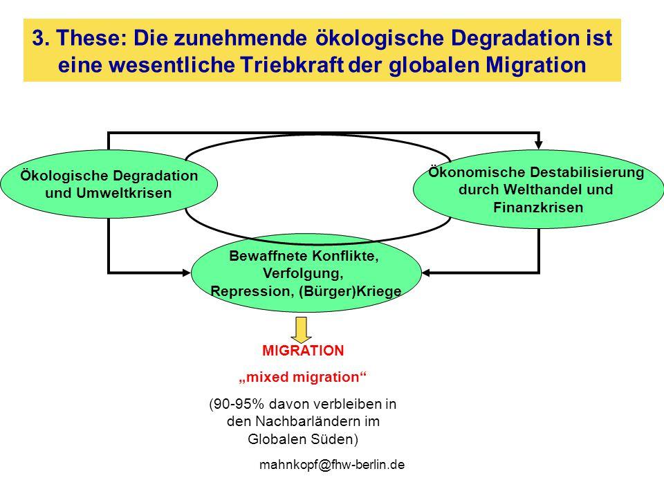 3. These: Die zunehmende ökologische Degradation ist eine wesentliche Triebkraft der globalen Migration