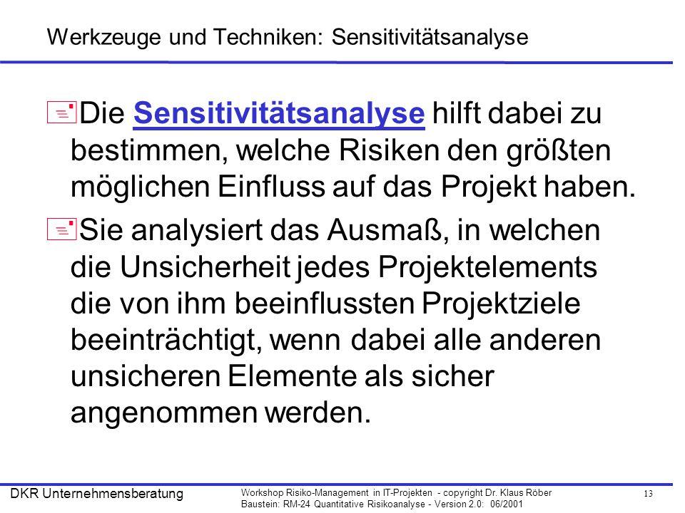 Werkzeuge und Techniken: Sensitivitätsanalyse