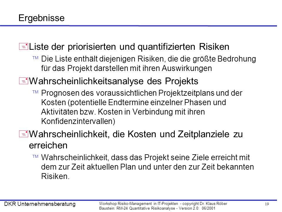 Liste der priorisierten und quantifizierten Risiken