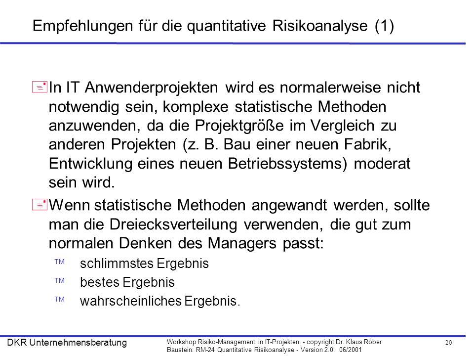 Empfehlungen für die quantitative Risikoanalyse (1)