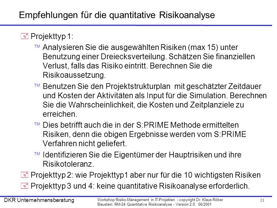 Empfehlungen für die quantitative Risikoanalyse