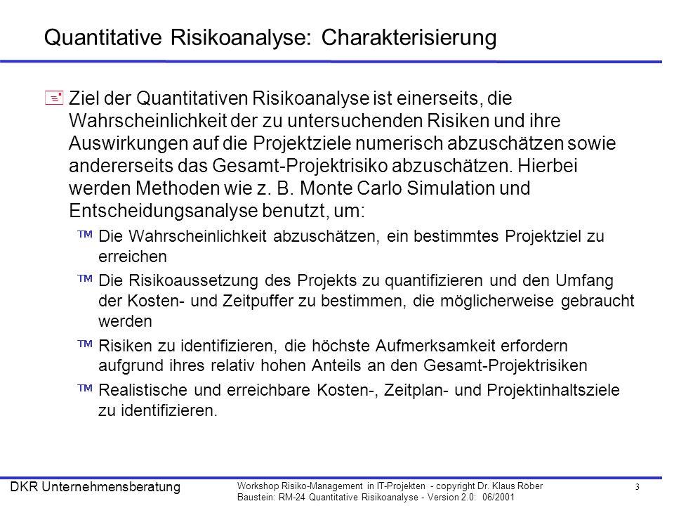 Quantitative Risikoanalyse: Charakterisierung