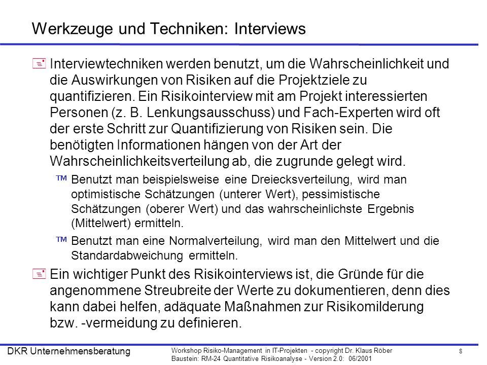 Werkzeuge und Techniken: Interviews