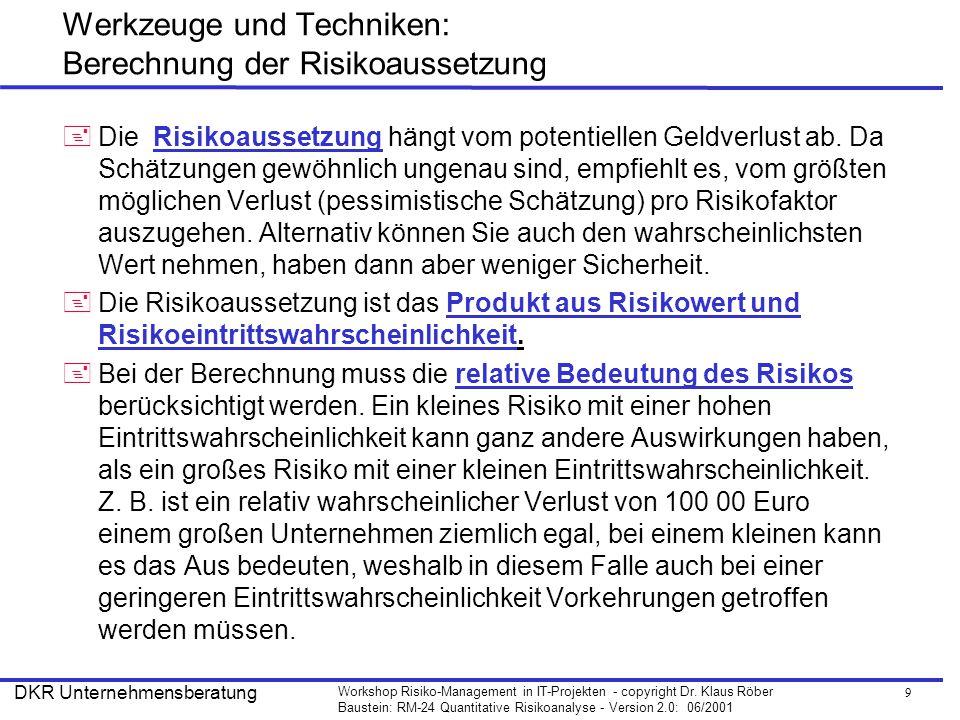 Werkzeuge und Techniken: Berechnung der Risikoaussetzung