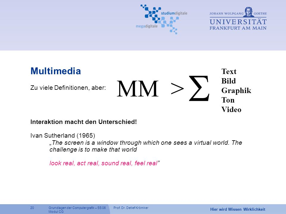 S MM > Multimedia Text Bild Graphik Ton Video