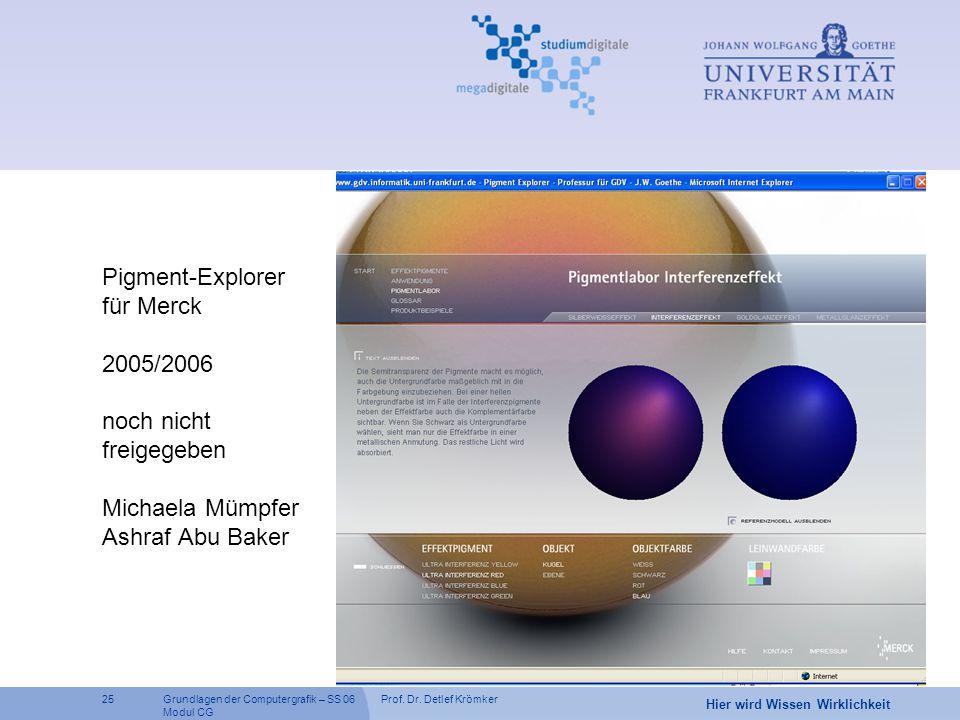 Pigment-Explorer für Merck 2005/2006 noch nicht freigegeben Michaela Mümpfer Ashraf Abu Baker