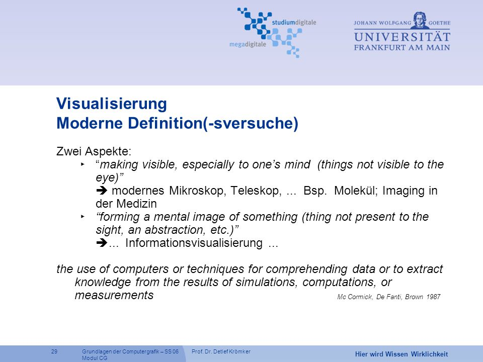Visualisierung Moderne Definition(-sversuche)