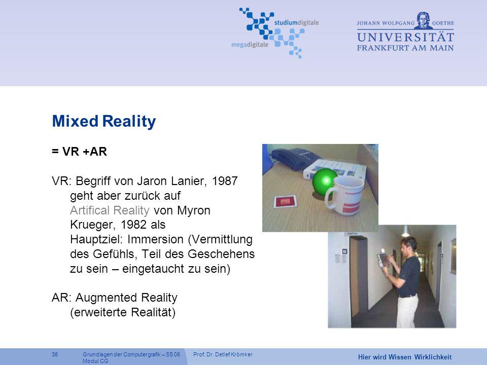 Mixed Reality = VR +AR. VR: Begriff von Jaron Lanier, 1987 geht aber zurück auf. Artifical Reality von Myron Krueger, 1982 als.
