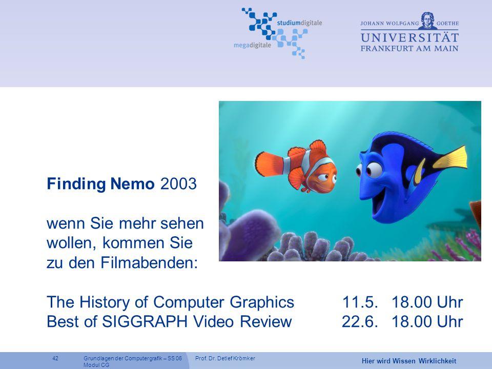 Finding Nemo 2003 wenn Sie mehr sehen wollen, kommen Sie zu den Filmabenden: The History of Computer Graphics 11.5.