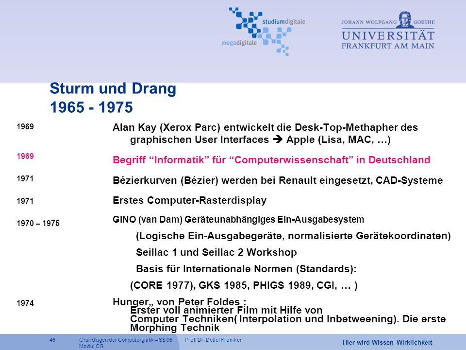 Sturm und Drang 1965 - 1975 Alan Kay (Xerox Parc) entwickelt die Desk-Top-Methapher des graphischen User Interfaces  Apple (Lisa, MAC, …)