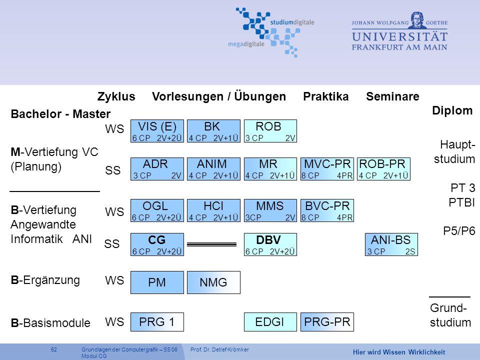 Zyklus Vorlesungen / Übungen Praktika Seminare Diplom