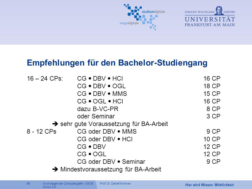 Empfehlungen für den Bachelor-Studiengang