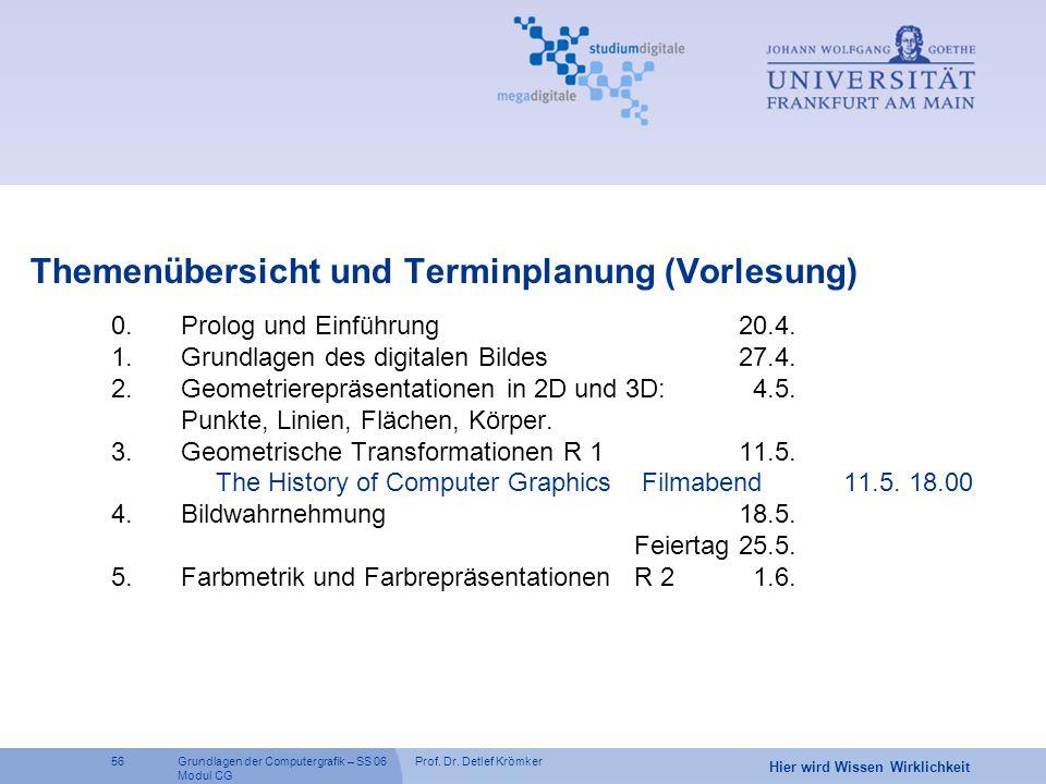 Themenübersicht und Terminplanung (Vorlesung)