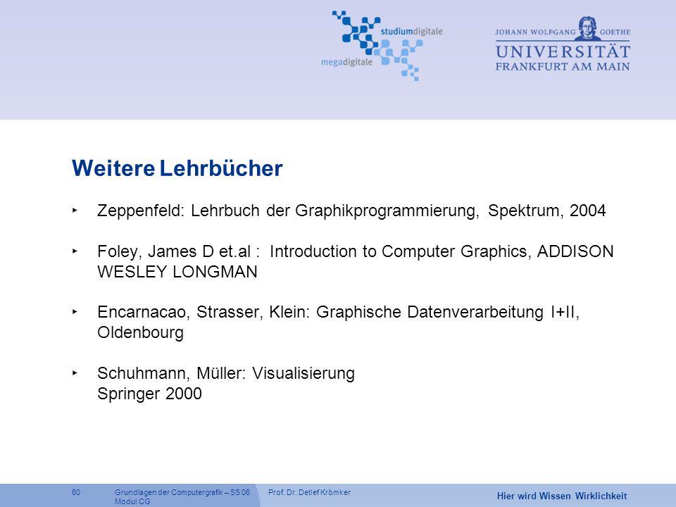 Weitere Lehrbücher Zeppenfeld: Lehrbuch der Graphikprogrammierung, Spektrum, 2004.
