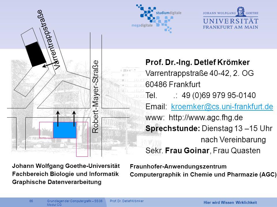 Wo findet man uns Varrentrappstraße Prof. Dr.-Ing. Detlef Krömker