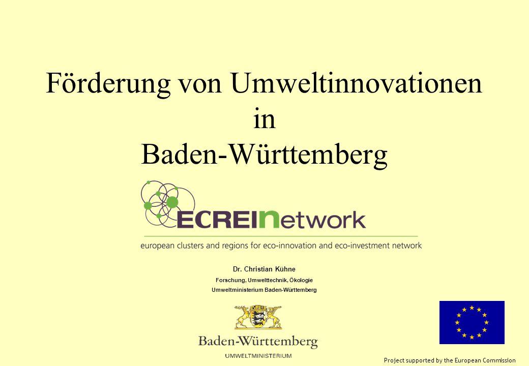 Förderung von Umweltinnovationen in Baden-Württemberg