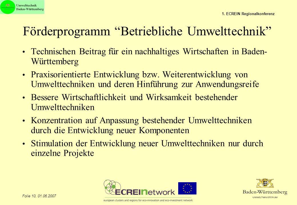 Förderprogramm Betriebliche Umwelttechnik