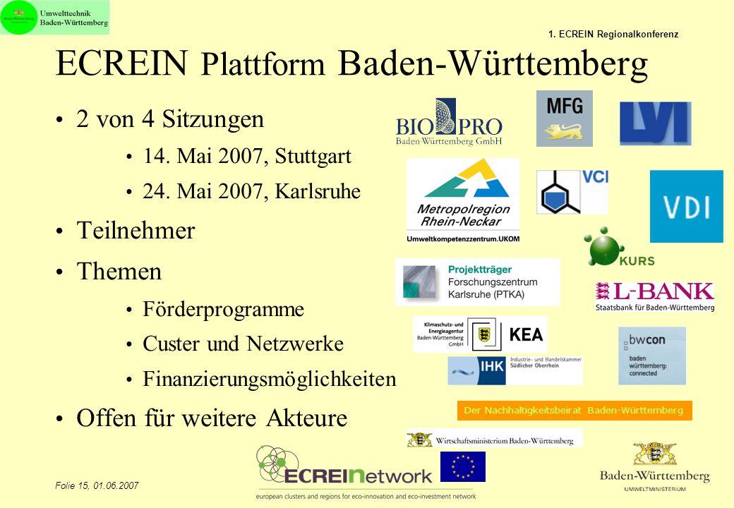 ECREIN Plattform Baden-Württemberg