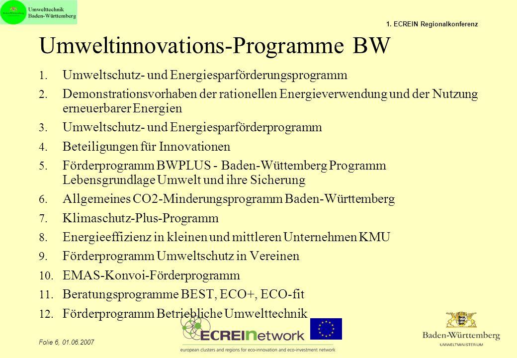 Umweltinnovations-Programme BW