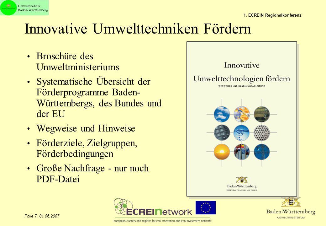 Innovative Umwelttechniken Fördern