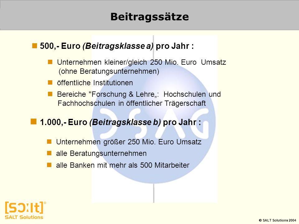 Beitragssätze 1.000,- Euro (Beitragsklasse b) pro Jahr :