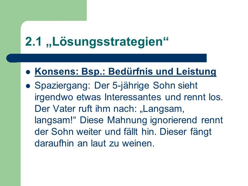 """2.1 """"Lösungsstrategien Konsens: Bsp.: Bedürfnis und Leistung"""