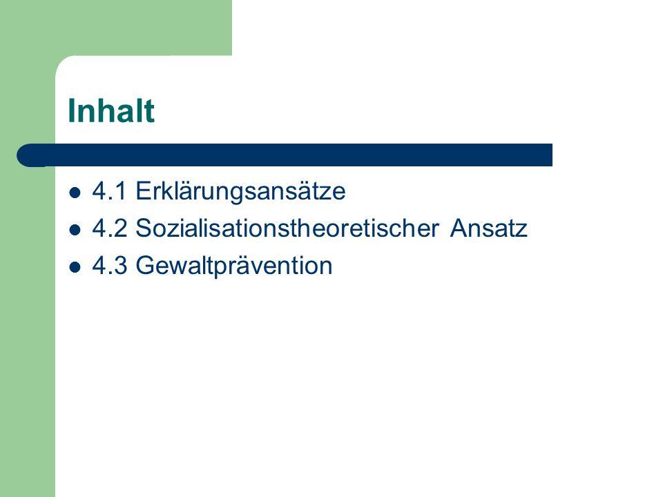 Inhalt 4.1 Erklärungsansätze 4.2 Sozialisationstheoretischer Ansatz