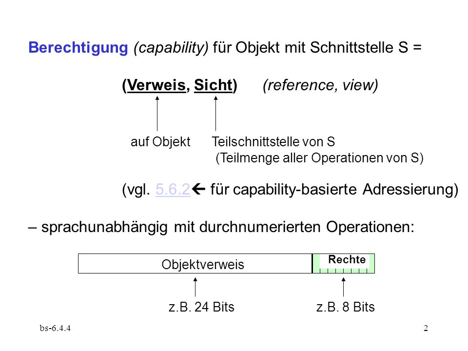 Berechtigung (capability) für Objekt mit Schnittstelle S =