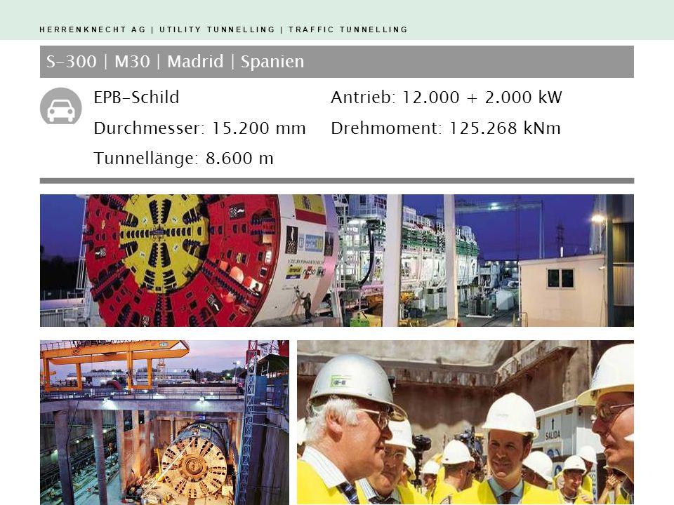 S-300 | M30 | Madrid | Spanien EPB-Schild. Durchmesser: 15.200 mm. Tunnellänge: 8.600 m. Antrieb: 12.000 + 2.000 kW.